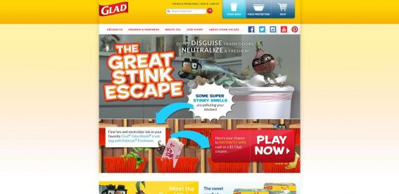 GLAD OdorShield Great Stink Escape Instant Win Game