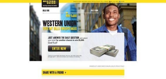 westernunionpaysmybills.com – Western Union Pays My Bills Sweepstakes