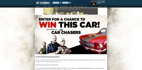 cnbc.com/car-sweepstakes – The Car Chasers Custom Mustang Sweepstakes