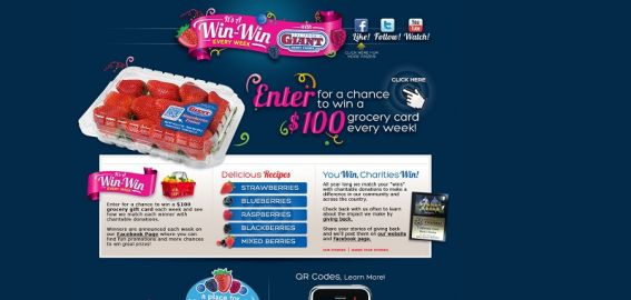 California Giant Berry Farms It's a Win-Win Every Week Promotion