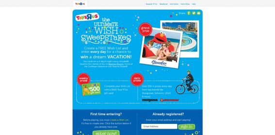 Toys R Us Ultimate Wish Sweepstakes