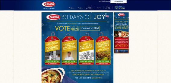 Barilla 30 Days Of Joy Sweepstakes
