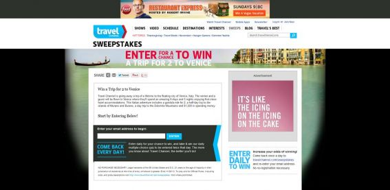 Travel Channel November 2013 Sweepstakes