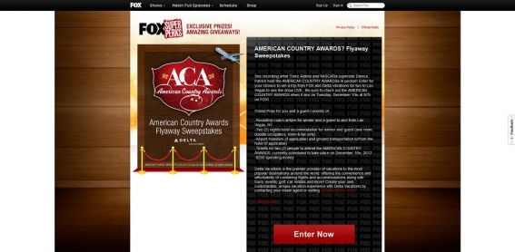 AMERICAN COUNTRY AWARDS Flyaway Sweepstakes