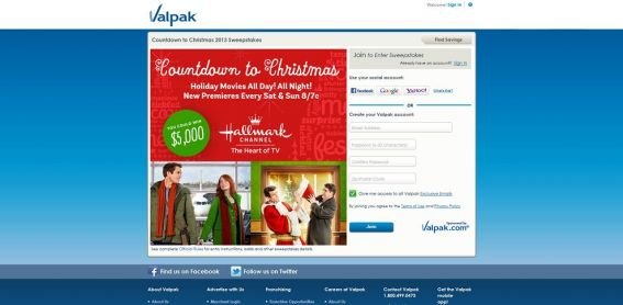 Valpak $5,000 Countdown to Christmas Sweepstakes