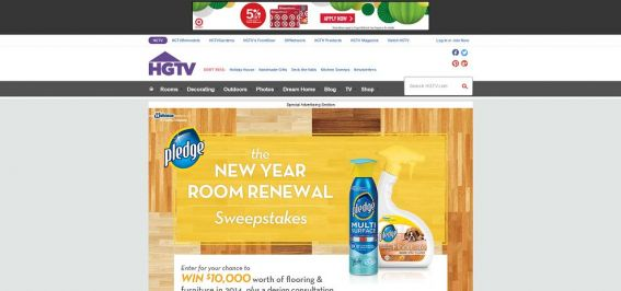 HGTV Pledge New Year New Room Renewal Sweepstakes