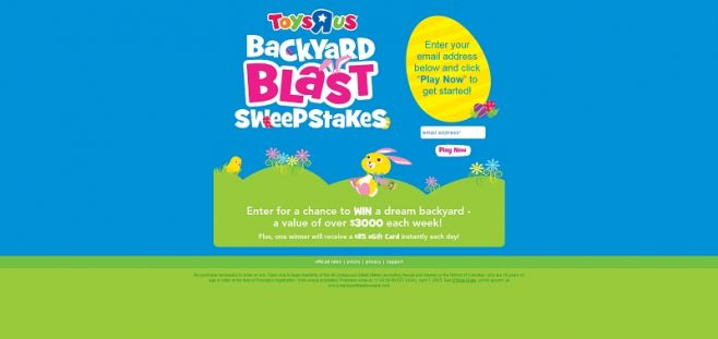 Toys R Us Backyard Blast Sweepstakes & Instant Win Game
