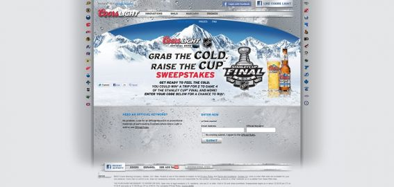 Coors Light Grab the Cold Raise the Cup Sweepstakes