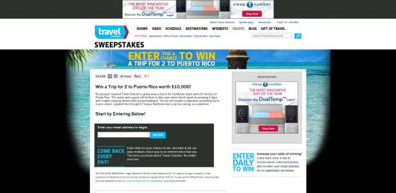Travel Channel December 2013 Sweepstakes