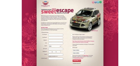 Ford Warriors in Pink 2012 Sweet Escape Sweepstakes