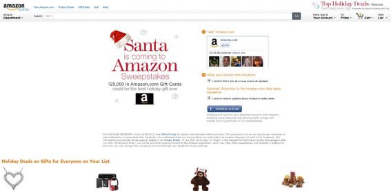 Santa is Coming to Amazon $25,000 Sweepstakes