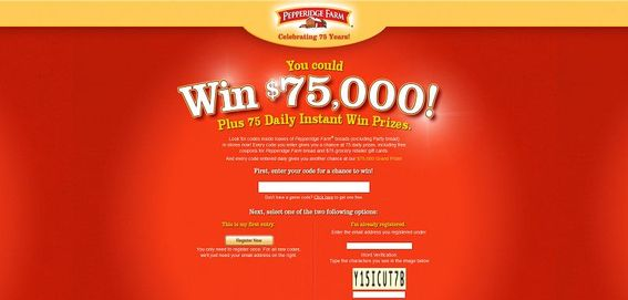 pfwin75.com &#8211; Pepperidge Farm Celebrating 75 Years Instant Win Game and Sweepstakes