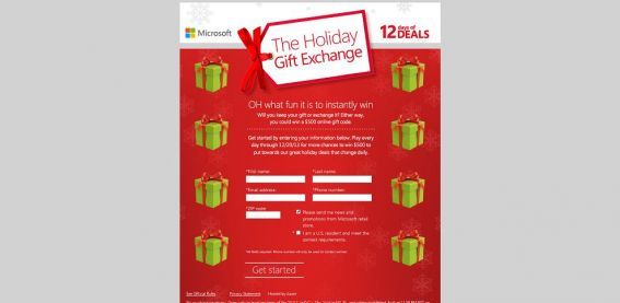 Holiday Gift Exchange Instant Win Game
