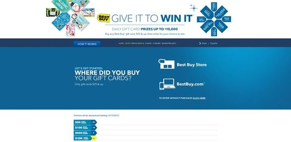 bbygiveittowinit.com – Best Buy Give It to Win It Sweepstakes