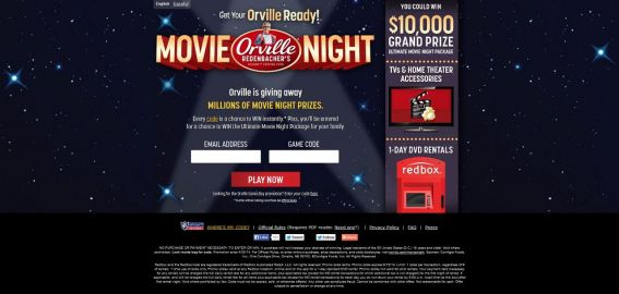 orville.com/movienight – Get Your Orville Ready Movie Sweepstakes and Instant Win Game