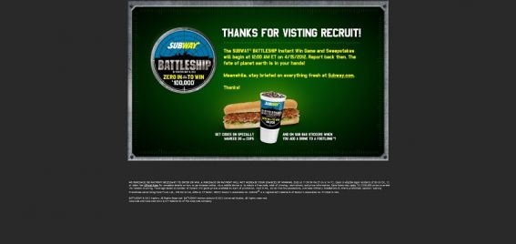 battleship.subway.com – SUBWAY BATTLESHIP Instant Win Game and Sweepstakes