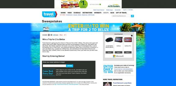 Travel Channel January 2014 Sweepstakes