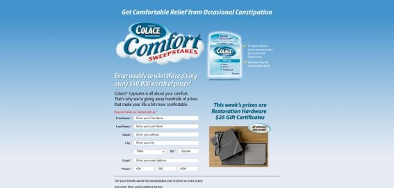 Colace Comfort Sweepstakes