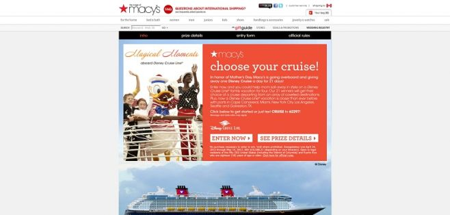 Macy's Mother's Day Choose Your Cruise Sweepstakes