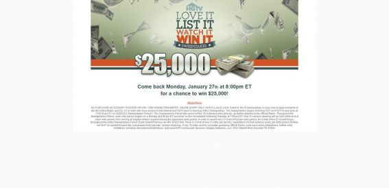 hgtv.com/loveit – HGTV's Love It, List It, Watch It, Win It Sweepstakes
