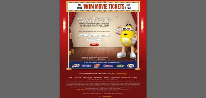 summermoviecash.com – 2012 Summer Movie Cash Instant Win Game