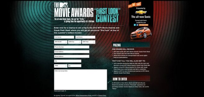 movieawardscontest.com – Chevy Sonic 2012 MTV Movie Awards First Look Contest