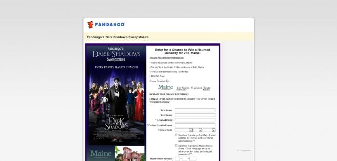 Fandango's Dark Shadows Sweepstakes