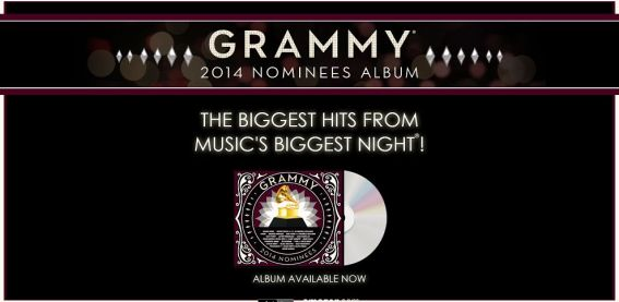 GRAMMY.com/2014GRAMMYAlbum – 2014 GRAMMY Nominees Album GRAMMY Ticket Game