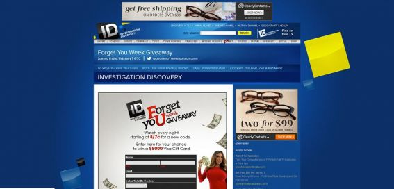 investigationdiscovery.com – Forget Your Week Giveaway
