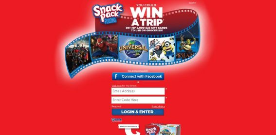 www.SnackPack.com/trip – Snack Pack On Pack Instant Win and Sweepstakes