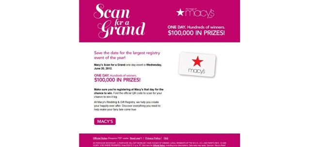 Macy's Scan for a Grand Instant Win Game