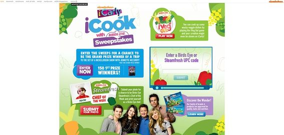nick.com/birdseye – iCarly iCook with Birds Eye Sweepstakes