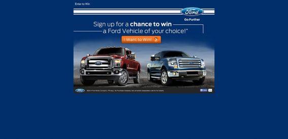 chancetowinaford.com – Ford Vehicle Sweepstakes