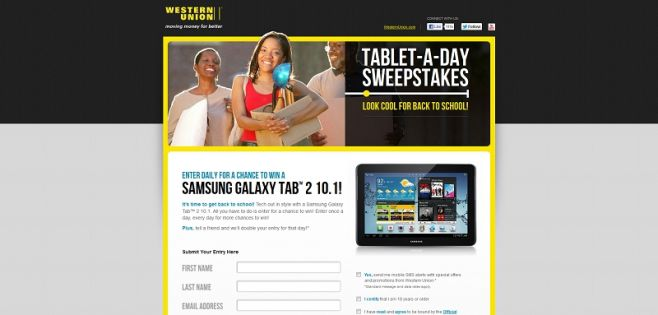 Western Union Tablet-A-Day Sweepstakes