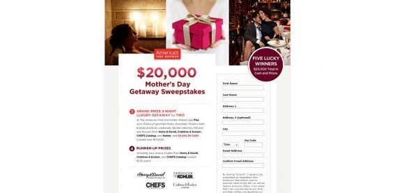 America's Test Kitchen $20,000 Mother's Day Getaway Sweepstakes