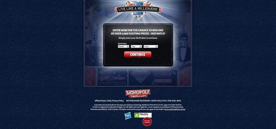 Monopoly Live Like A Millionaire Instant Win Game