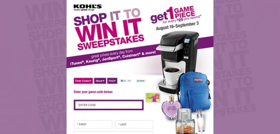 kohlsshopittowinit.com – Shop It to Win It Instant Win Game & Sweepstakes