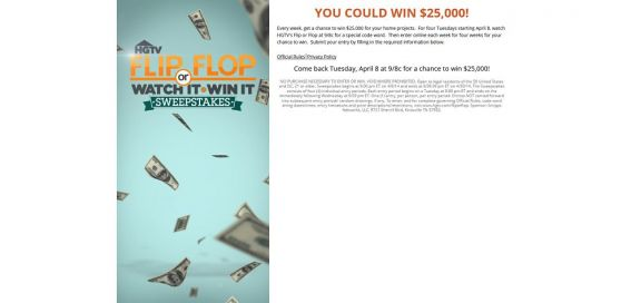 hgtv.com/fliporflop – HGTV Flip or Flop Watch It Win It Sweepstakes