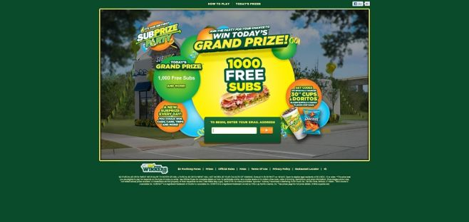 subprizeparty.subway.com – SUBWAY Subprize Party Game