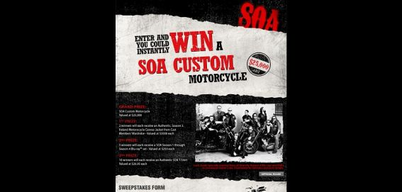 sonsofanarchysweeps.com –  Sons of Anarchy Instant Win Game