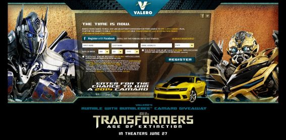 valerosweeps.com – Rumble with Bumblebee Camaro Giveaway