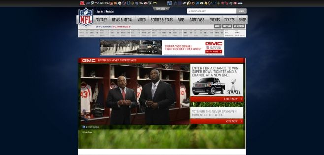 gmc.com/nfl – 2012 – 2013 GMC Never Say Never Sweepstakes