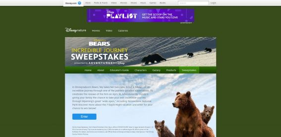 disney.com/bearssweeps – Bears Incredible Adventures Sweepstakes