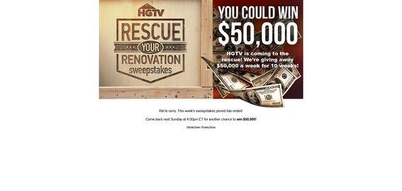 HGTV.com/rescue – HGTV's Rescue Your Renovation Sweepstakes