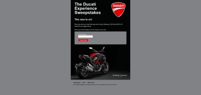 Ducati Experience Sweepstakes
