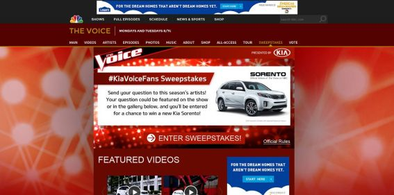 NBC.com/Kia – The Voice Your Dreams Sweepstakes