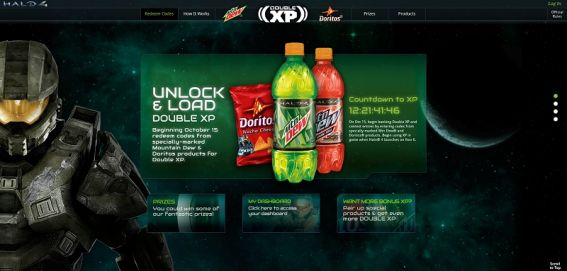 DewXP.com – Mtn Dew Game Fuel/Doritos/Halo 4 Unlock and Load Double XP Promotion