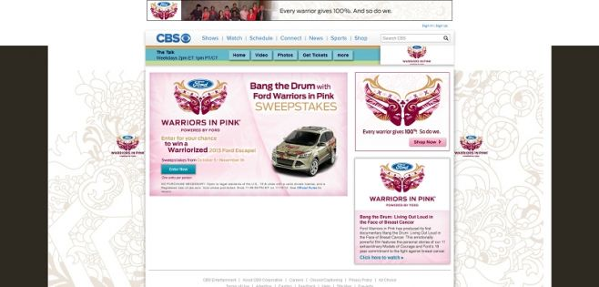 cbs.com/warriorsinpink – Bang the Drum with Ford Warriors in Pink Sweepstakes