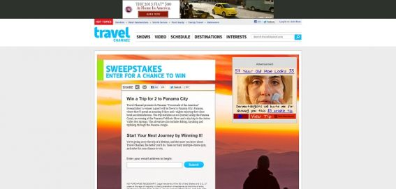 Travel Channel November 2012 Sweepstakes