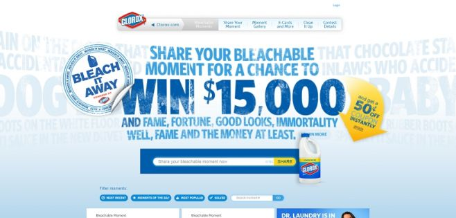 bleachitaway.com – Clorox Bleachable Moments Contest